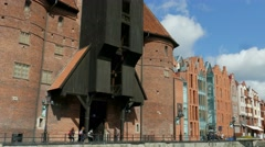 Gdansk, Poland. Riverside promenade in the old town - view from the river Stock Footage