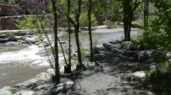 Peaceful stream at a mountain resort Stock Footage