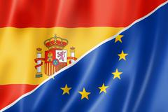 Spain and Europe flag - stock illustration