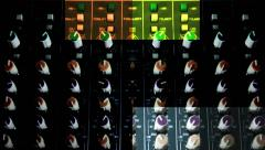 Vj Loops Audio Console Close Up Hands Mix Colored Background Stock Footage