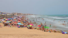 Vacation people at La Mata beach, Spain,Timelapse Stock Footage