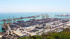 Barcelona Port Panorama, Real Time, Spain Stock Footage