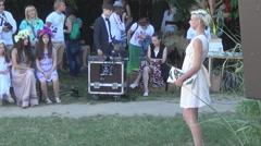 Ukrainian white dress Stock Footage
