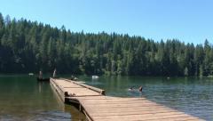 Summer Lake Kids On The Dock - stock footage