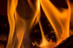 closeup of burning wood - stock photo