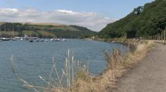 Footpath by River Dart Estuary in Kingswear South Devon Stock Footage