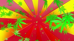 Abstract sunburst with cannabis leaves on multicolored background Stock Footage