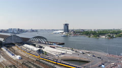 Central Station and IJ river, Amsterdam Stock Footage