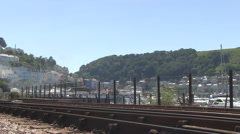 VC11329 - Steam Locomotive Cab on Railway Track at Kingswear in South Devon Stock Footage