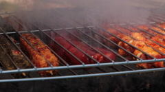 Detail of Meat on Barbecue Stock Footage