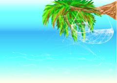 Hawaii beach and hammock Stock Illustration