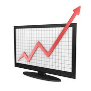 Computer Monitor with Business Chart - stock illustration