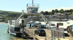 Dartmouth to Kingswear Higher Vehicle Ferry Across River Dart Estuary in Sout Stock Footage