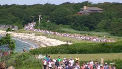 Runners along Beach on Cape Cod Stock Footage