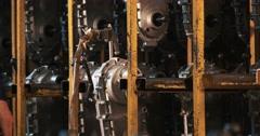 Auto mechanic hands replacing motor oil into motor-block Stock Footage