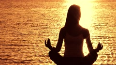 Meditation at Sunset - stock footage