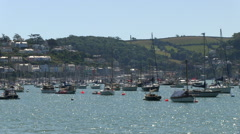 Dartmouth and Kingswear Boats on Glistening Water of the River Dart Estuary i Stock Footage