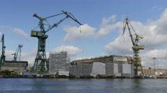 Shipyard cranes. Shipyard in Gdansk, Poland Stock Footage
