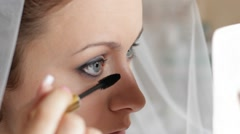 Putting On The Make Up Stock Footage