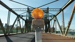 Amber Construction Beacon On Bridge Stock Footage