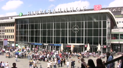 Hauptbahnhof main central station in Cologne exterior view - stock footage