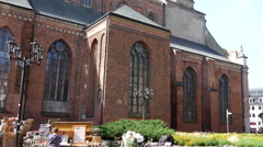 Tilt from the St. Peter's Church in Riga Latvia Stock Footage