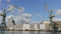 Gdansk shipyard. Gdansk, Poland Stock Footage