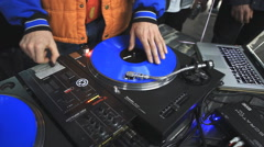 Dj scratching vinyl Stock Footage