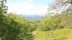 Forest path with hills  Cambusbarron Stirling - stock footage