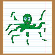 Green octopus caught on the lines of sheet Stock Illustration