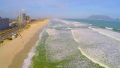 Epic Aerial Wide Shot Waves Ocean Sand Beach South Africa Table Mountain Drone Arkistovideo