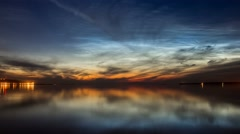 Sunset clouds above the water mirror Timelapse Stock Footage