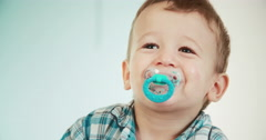 Cute Little Toddler Standing in Baby Bed Stock Footage