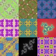 Set of fractal floral patterns - stock illustration