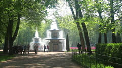 St. Petersburg-Peterhof. Fountains and statues. Stock Footage