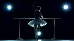 Classic ballet dancer on blue background Stock Footage