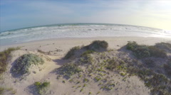 Aerial Shot Across Sand Bank Beach Ocean Waves South Africa Cape Drone Footage Stock Footage