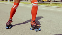Retro Stylized Sexy Girl On Roller Skates Stock Footage