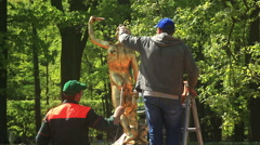 Workers wash a gold statue in Peterhof. St. Petersburg. Russia. 2015 Stock Footage