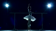 Ballet dancer in white tutu on a Blue, slow motion Stock Footage
