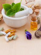 Alternative health care fresh herbal  ,dry and herbal capsule with mortar on Stock Photos