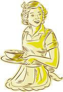 Homemaker Serving Bowl of Food Vintage Etching - stock illustration