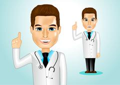 Confident doctor pointing up Stock Illustration
