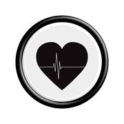 Button Heart tag pulse. - stock illustration