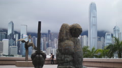 A photographer surrounded by modern art in HK 4K Stock Footage