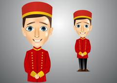 young cute bellboy waiting for the client - stock illustration