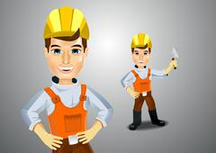 handsome young plasterer with trowel - stock illustration