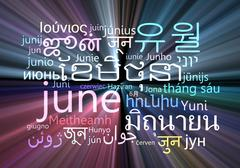 Stock Illustration of June multilanguage wordcloud background concept glowing