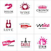 Set of wine bottle glass logo. Original winery sign design. Old vineyard vector Stock Illustration