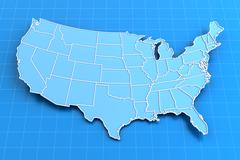 Blue paper map of USA with state borders - stock illustration